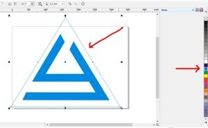 membuat logo denganc orel draw line segitiga